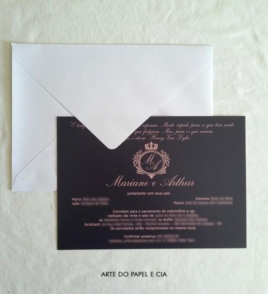 A64  convite azul marinho e rosé com envelope tradicional no elo7