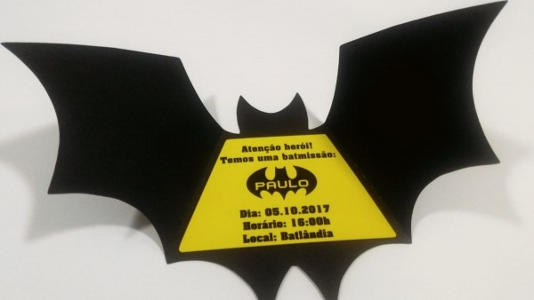 Arquivo convite batman morcego + forminha formato studio no elo7