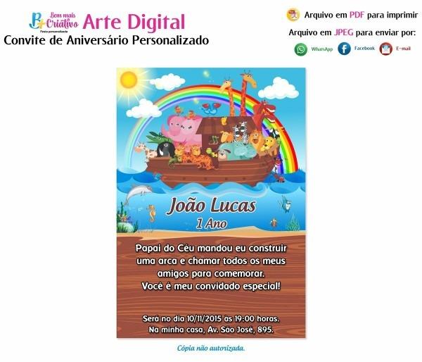 Arte convite digital aniversário arca de noé