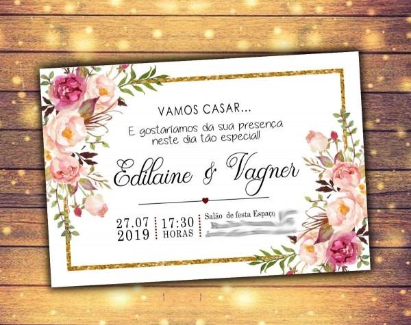 Arte convite digital virtual rústico casamento noivado