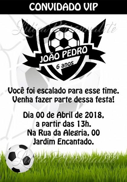 Arte de convite digital aniversário infantil futebol no elo7