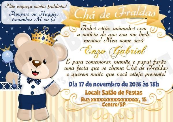 Arte digital convite chá de bebê urso príncipe azul no elo7