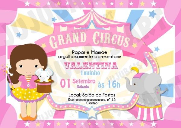 Arte digital convite circo rosa no elo7