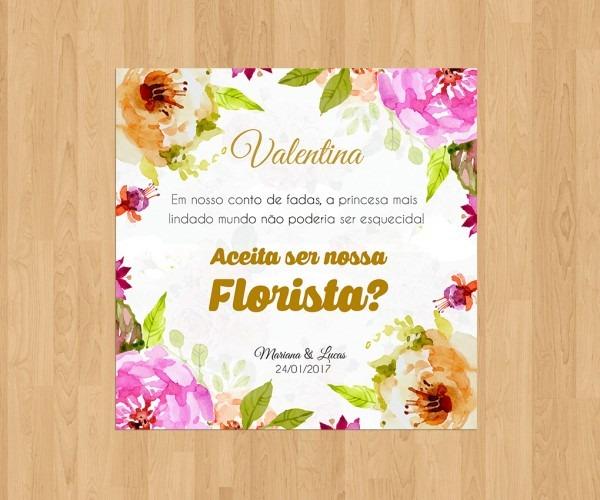 Arte digital convite daminha florista no elo7