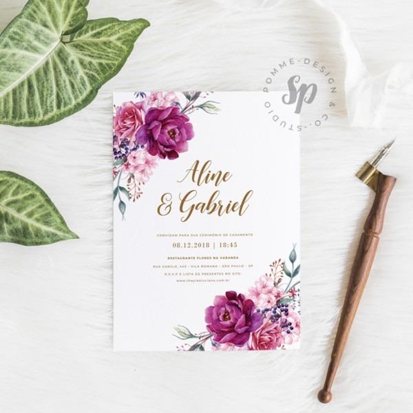 Convite casamento floral (virtual + arte para imprimir) no elo7
