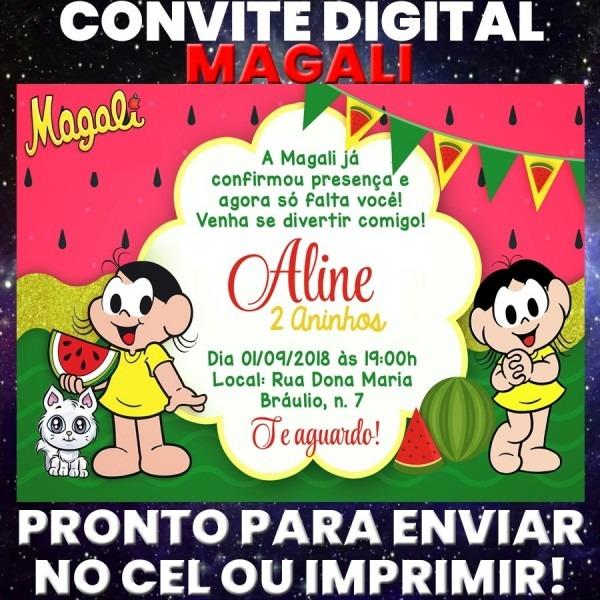 Arte digital convite festa aniversário promoção  magali