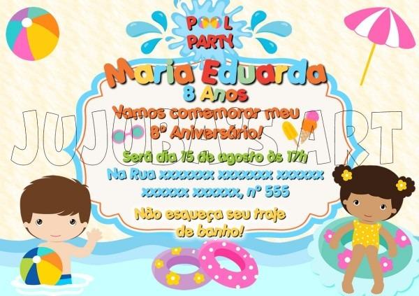 Arte digital convite festa na piscina pool party