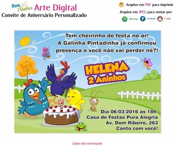 Arte digital convite galinha pintadinha