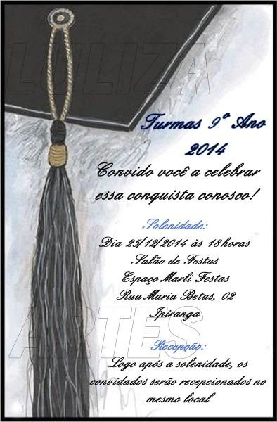Arte digital convite turma formatura no elo7