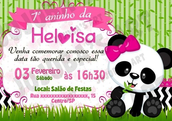 Arte digital convite ursinha panda urso panda menina