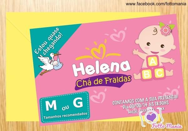 Arte para convite chá de bebê fraldas pampers personalizado