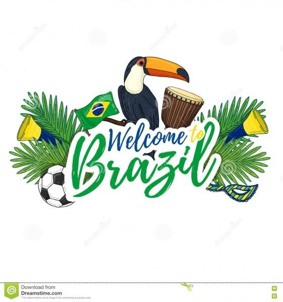 Bandeira, cartaz, sinal, boa vinda do convite a brasil ilustração