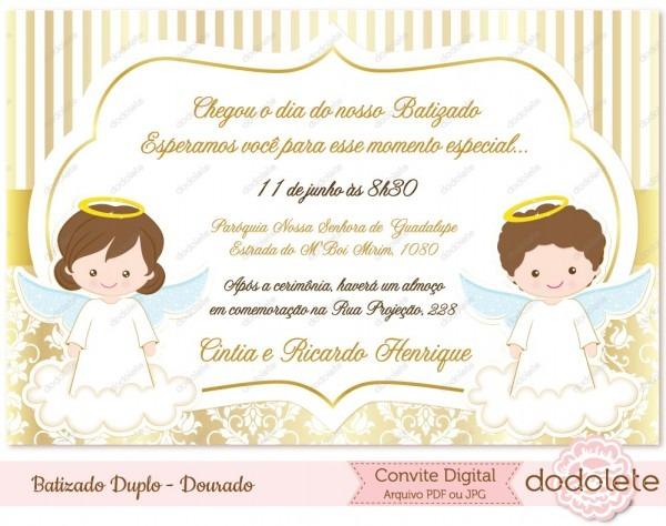 Batizado digital duplo dourado no elo7
