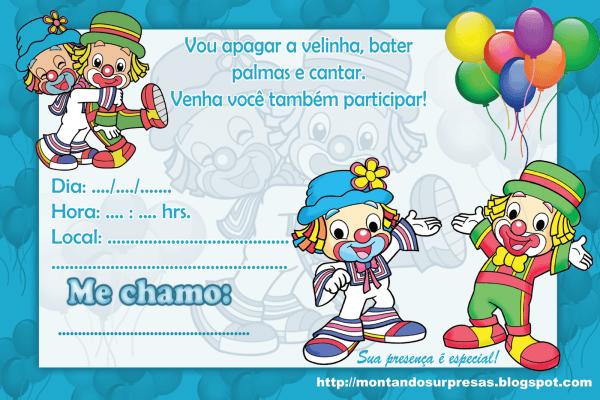 Convites de aniversário do patati patatá prontos para imprimir