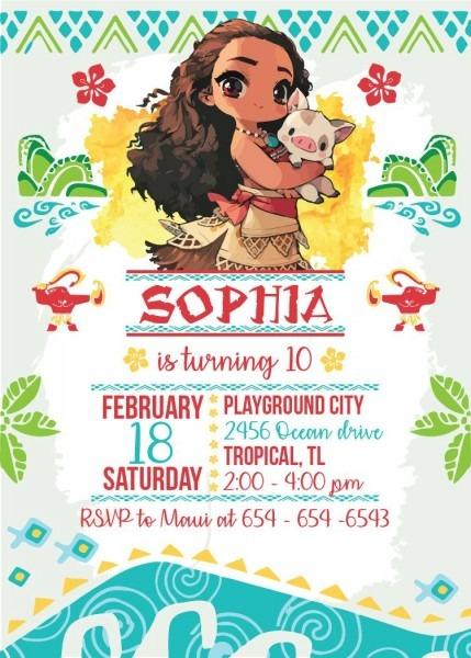 Moana invitation printable birthday invitation birthday