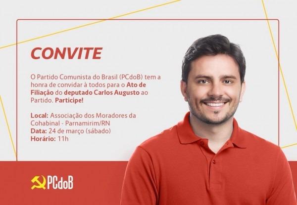 Deputado carlos augusto vai se filiar ao pcdob no sábado