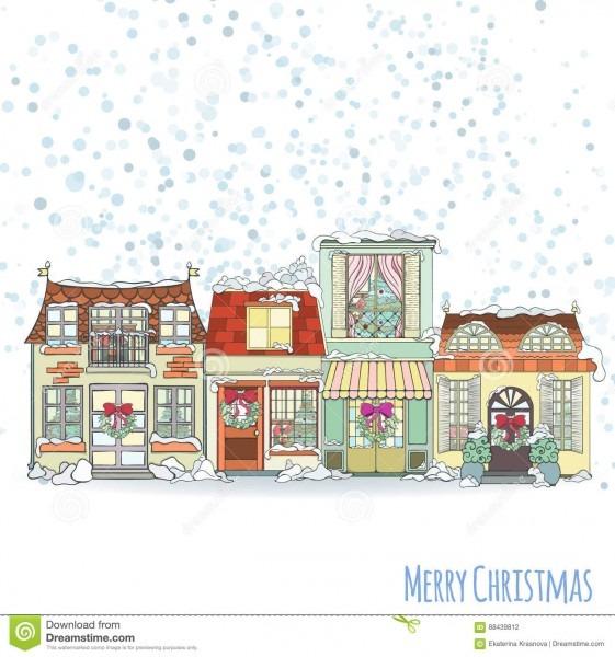 Cartão do convite da casa do natal e do ano novo ilustração do