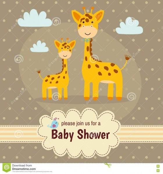 Cartão do convite da festa do bebê com girafas bonitos ilustração
