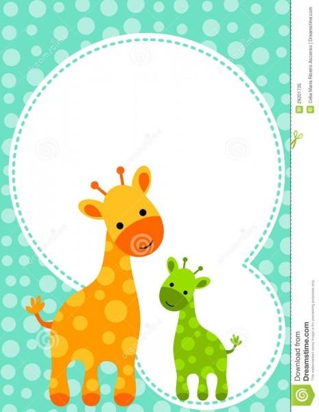Cartão do convite do girafa da festa do bebé ilustração stock