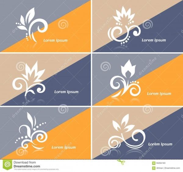 Cartão do convite ou bandeira da web com ícones abstratos da flor