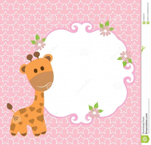 Cartão do girafa do bebê ilustração do vetor  ilustração de menina