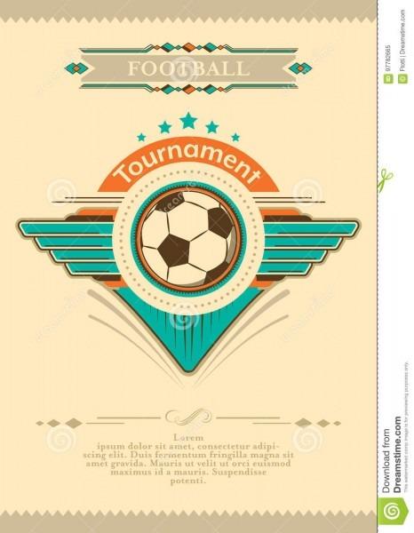 Cartaz do futebol no estilo do vintage com estrelas, emblema e