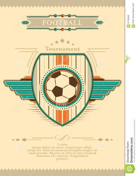 Cartaz do futebol no estilo retro com emblema e bola convite do