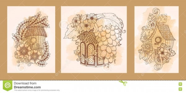 Casa, cartões home doces do convite com flores, casas do pássaro e