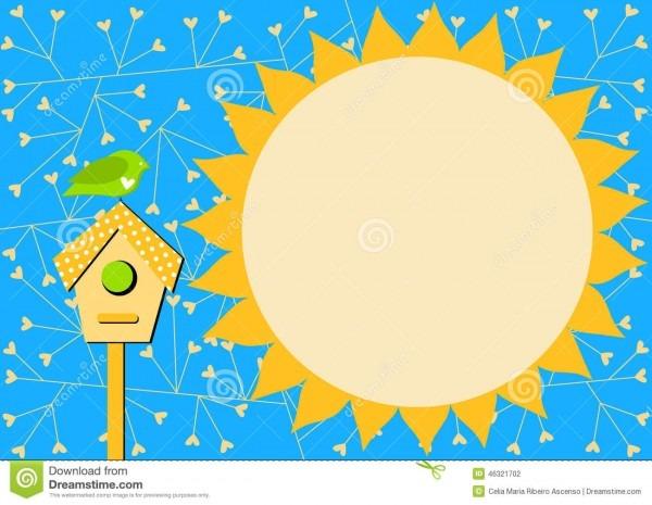 Casa do pássaro e cartão do convite de sun ilustração stock