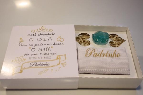 Casamento convite padrinho madrinha o sim 10 caixas