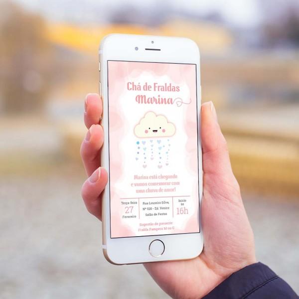 Convite digital chá de fraldas bebê chuva de amor rosa – convite