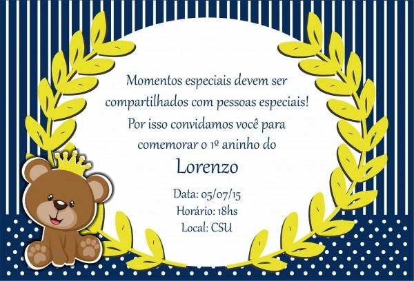 Convite infantil do urso rei ( lorenzo )