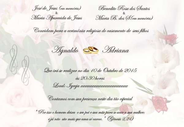 Convite de casamento ( agnaldo e adriana )