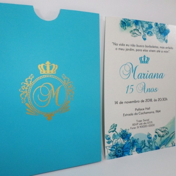 Convite 15 anos 11x16cm azul tiffany (50 und) luva