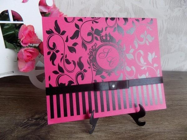 Convite 15 anos debutante pink e preto ou tiffany (60un)