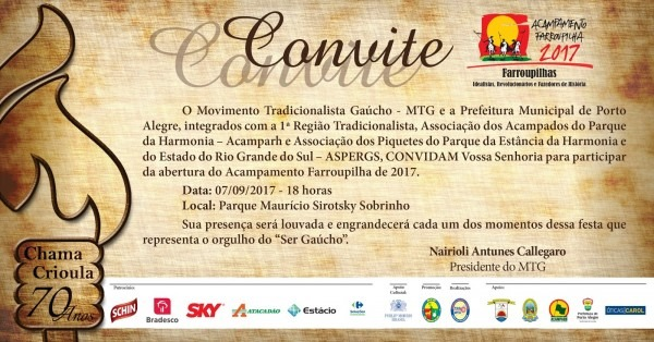 Notícias do tradicionalismo gaúcho  convite para a abertura do