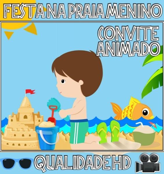 Convite animado aniversário beach party festa praia menino
