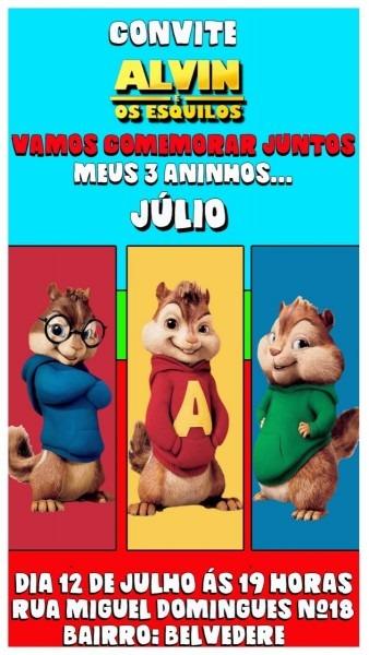 Convite animado para aniversário alvin e os esquilos 3 cores