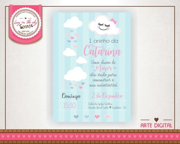 Convite aniversário chá de bebê chuva de amor nuvem coração no
