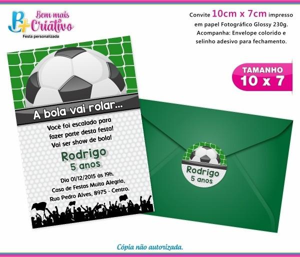 Convite aniversário futebol