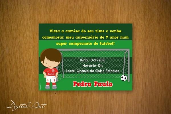 Convite aniversário futebol meninos time no elo7