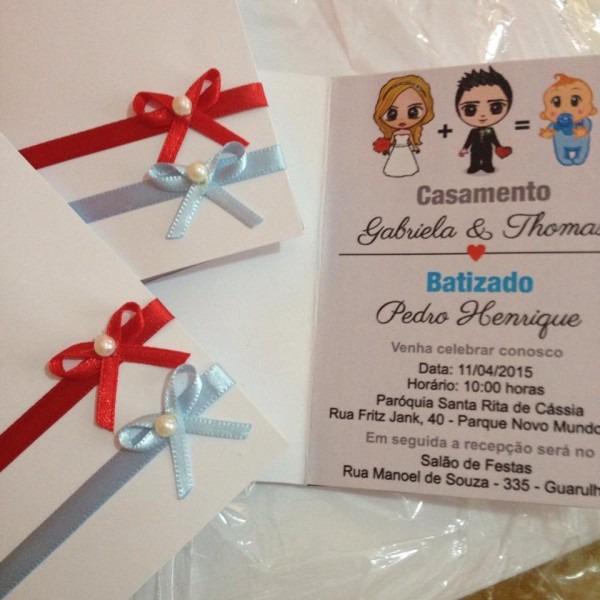 Convite batizado + casamento no elo7