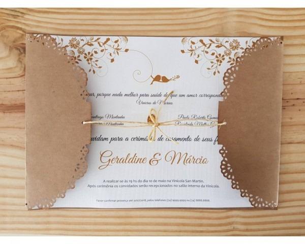 Convite casamento birds kraft