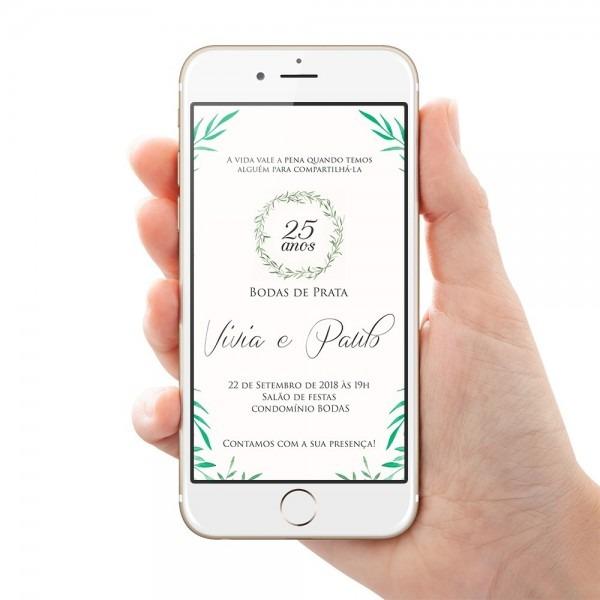 Convite bodas de prata casamento arte digital para whatsapp
