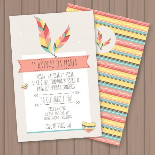 Convite boho (editável) p imprimir no elo7