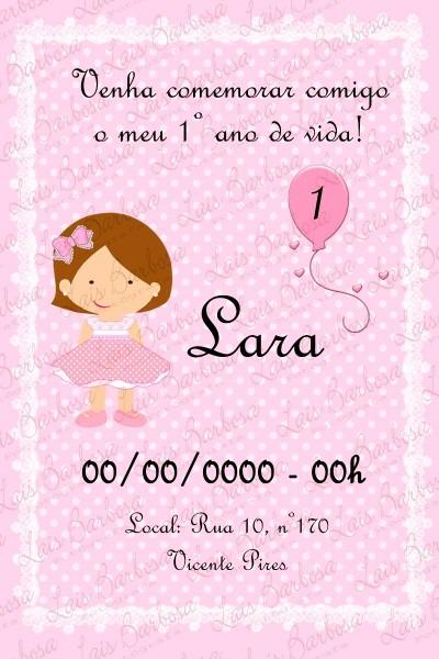 Convite boneca provençal rosa e marrom temas variados!