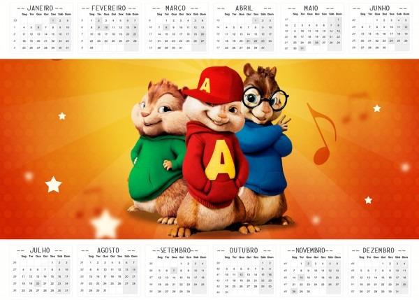 Convite calendario 2016 alvin e os esquilos