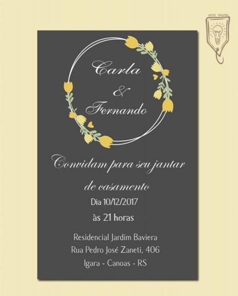 Convite casamento informal chalkboard