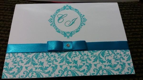 Convite casamento azul tiffany no elo7