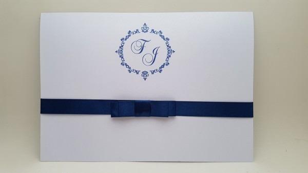 Convite casamento branco azul perolado no elo7